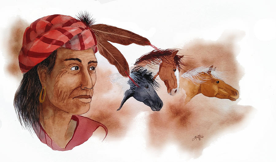 Cherokee Mixed Media - Yahula And His Horses by John Guthrie