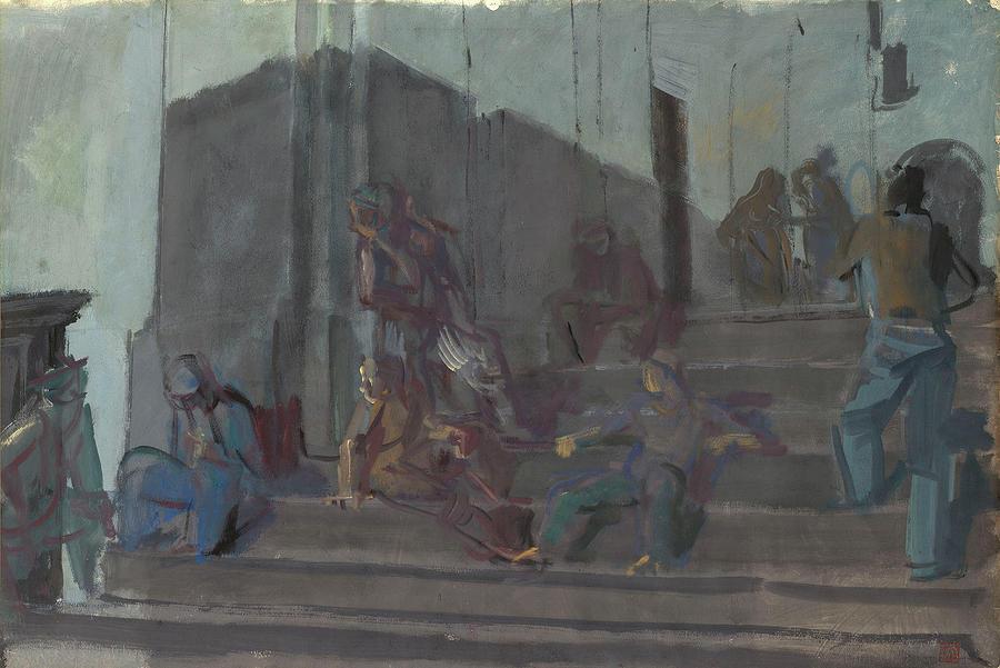 Man Painting - Yakovlev, Alexander 1887-1938 L Escalier, Capri, Nuit by Yakovlev Alexander