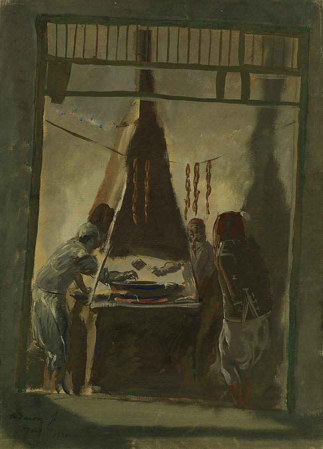 Man Painting - Yakovlev, Alexander 1887-1938 Merguez Seller In Tunis by Yakovlev Alexander