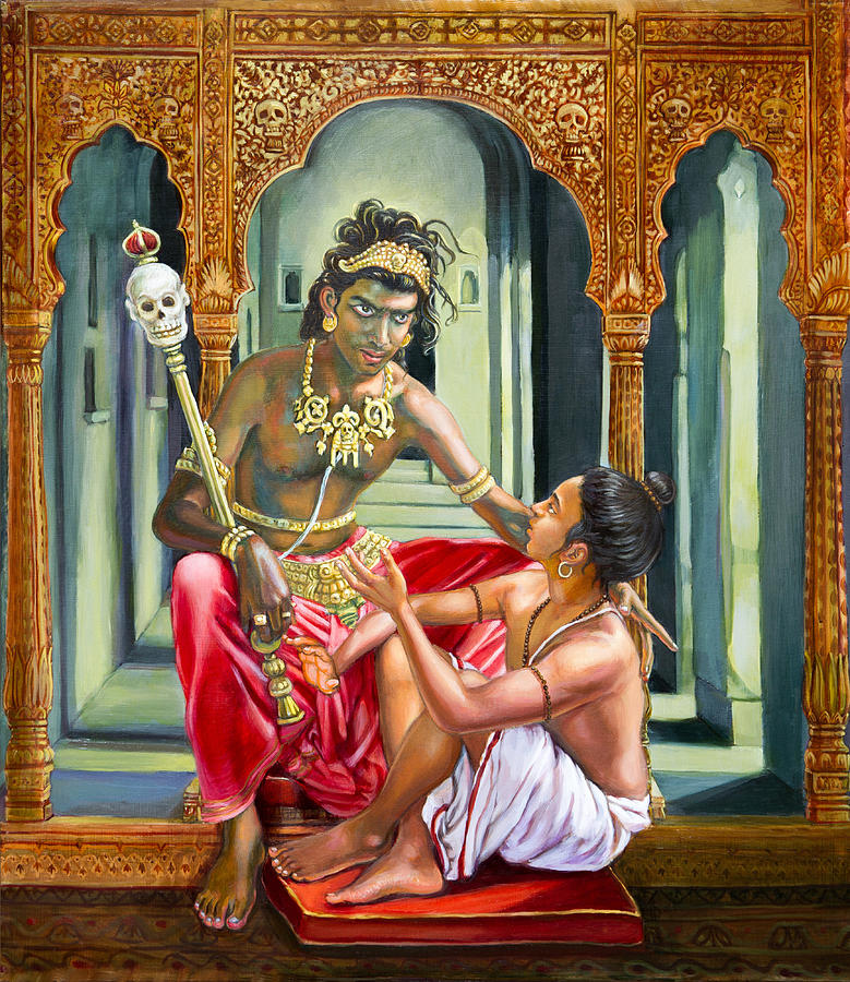 Veda Painting - Yamaraja answers the questions of Nachiketa by Dominique Amendola