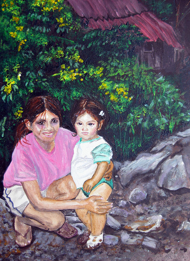 Daughter Painting - Yamileth And Daughter by Sarah Hornsby