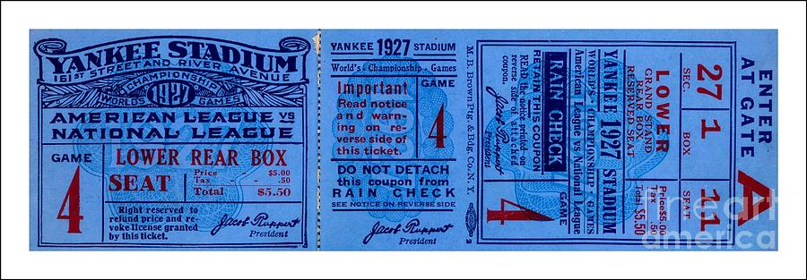 Yankee Stadium Drawing - Yankee Stadium 1927 World Series Ticket Babe Ruth Game by Peter Ogden Gallery