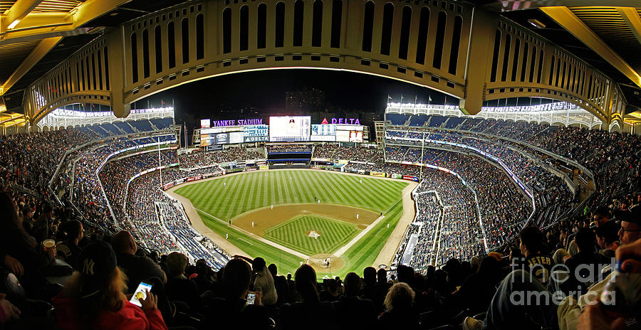 Yankee Stadium Interior Panorama With Facade Photograph