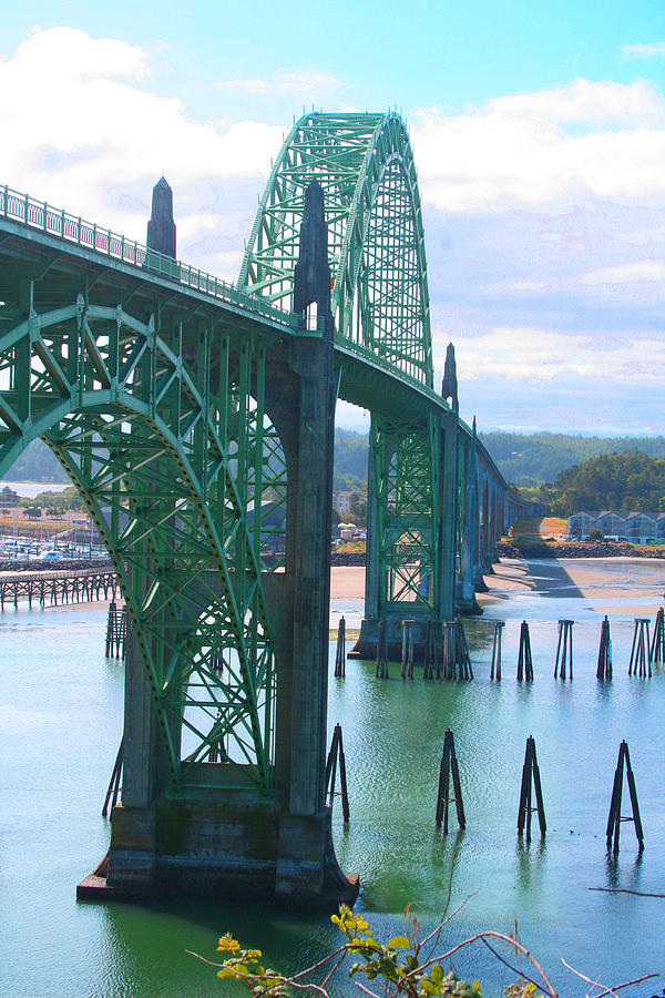 Yaquina Bay Photograph - Yaquina Bay Bridge Br-9002 by Mary Gaines