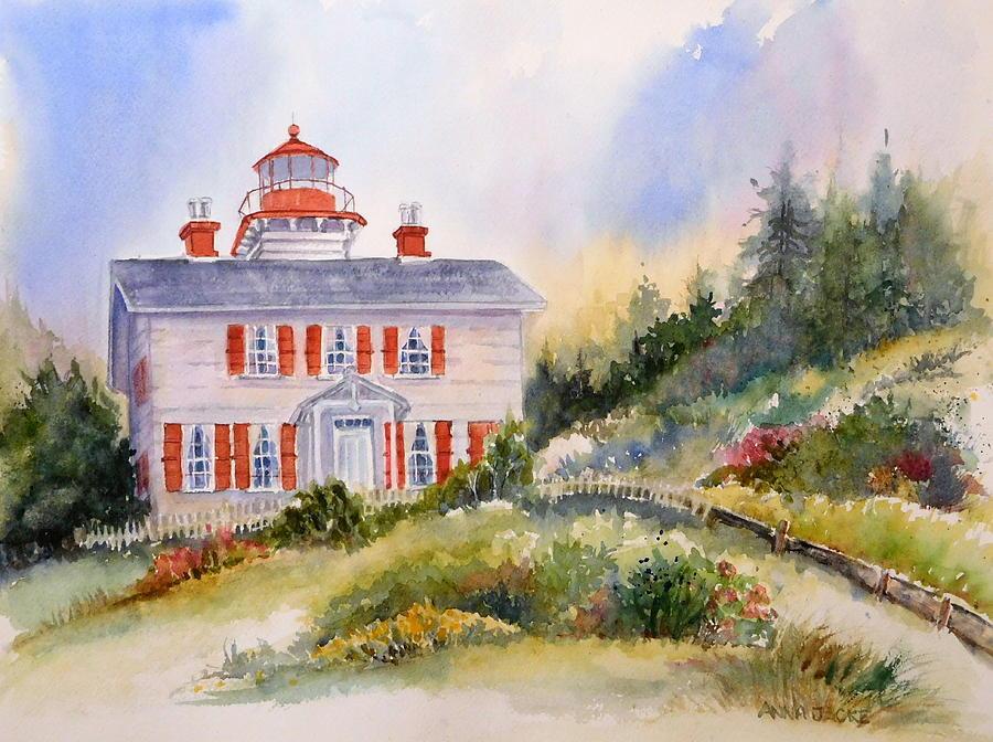 Yaquina Bay Lighthouse Painting - Yaquina Bay Light by Anna Jacke