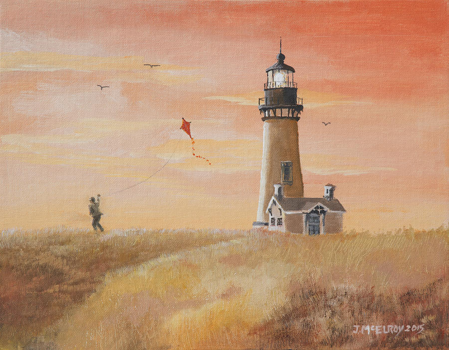 Yaquina Head Painting - Yaquina Head Lighthouse by Jerry McElroy