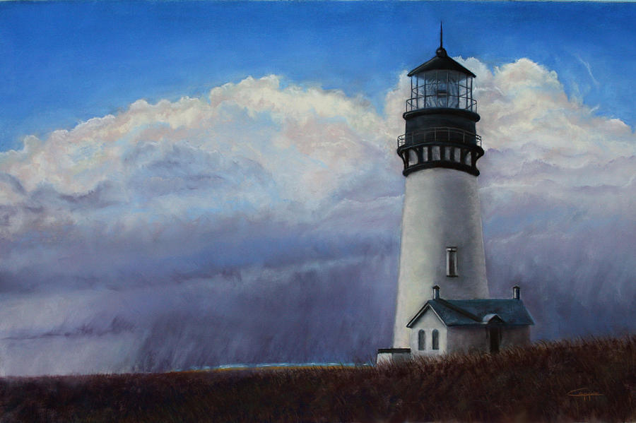 Yaquina Head Painting - Yaquina Head Storm by Carl Capps