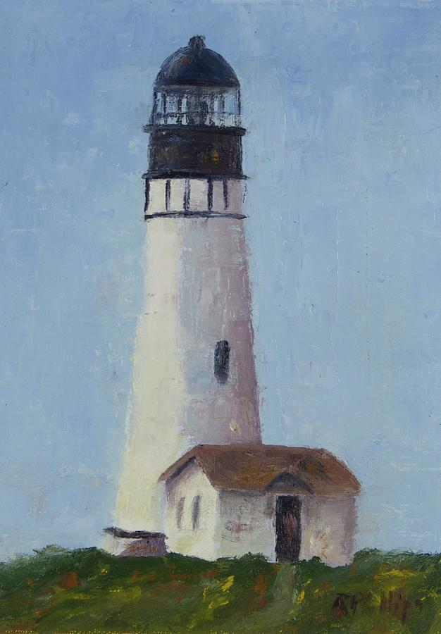 Oregon Painting - Yaqunia Head Lighthouse by Rosie Phillips