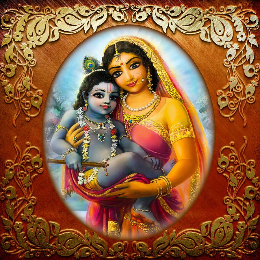 Krishna Mixed Media - Yashoda And  Krishna 3 by Lila Shravani