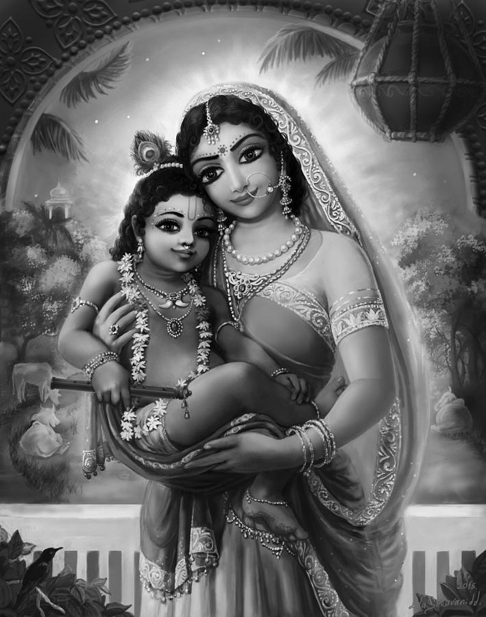 Krishna  Mixed Media - Yashoda And  Krishna Black-white by Lila Shravani