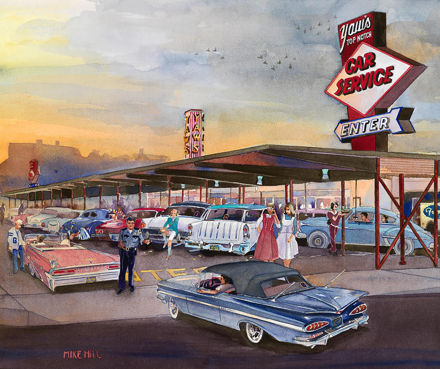 Yaws Top Notch Drive In Painting by Mike Hill