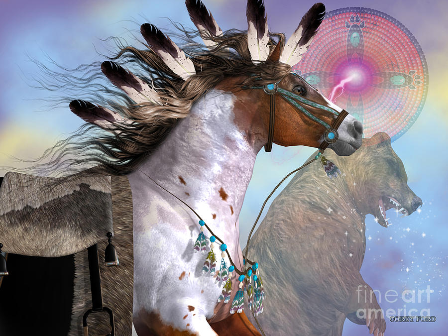 Indian Painting - Year Of The Bear Horse by Corey Ford