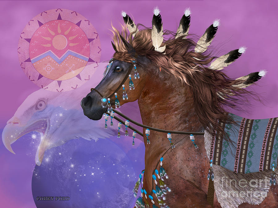 Indian Painting - Year Of The Eagle Horse by Corey Ford