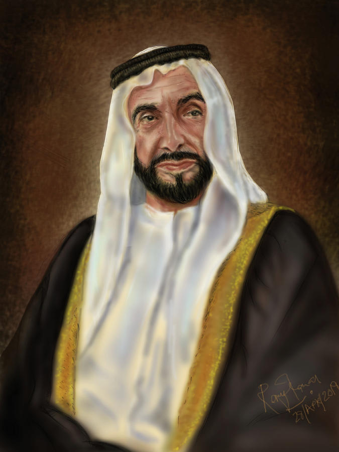 Year Of Zayed Portrait Release 2018 Painting by Remy Francis