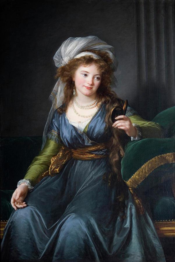 Girl Painting - Yekhaterina Vasilievna Engelhardt, Countess Skavronskaya, Later Countess Litta E. Vigee-lebrun by Yekhaterina Vasilievna Engelhardt