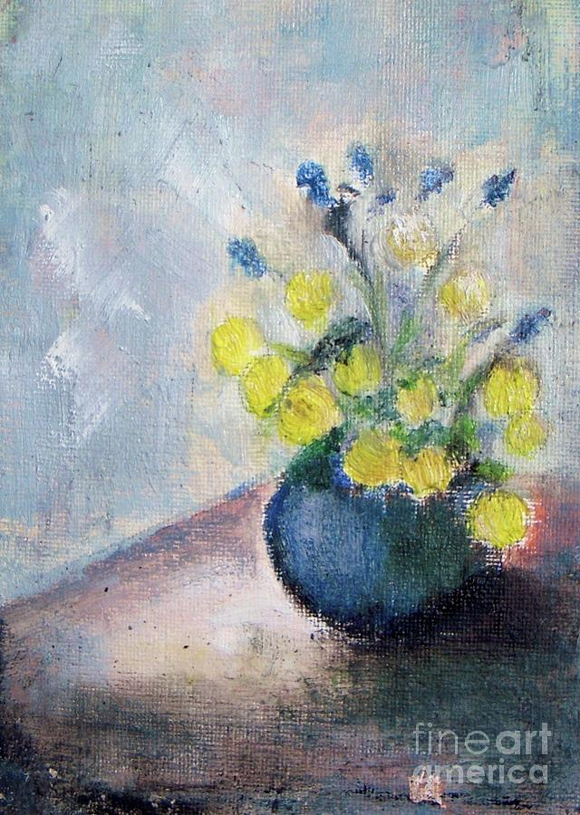 Abstract Painting - Yello Flowers In Blue Vaze by Vesna Antic