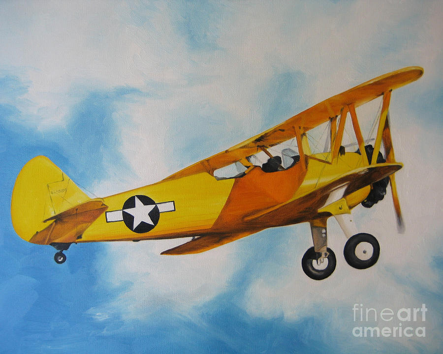 Airplane Painting - Yellow Airplane - Detail by Jindra Noewi