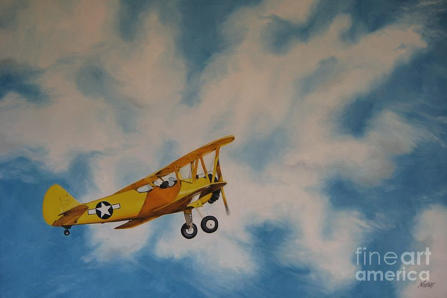 Airplane Painting - Yellow Airplane by Jindra Noewi