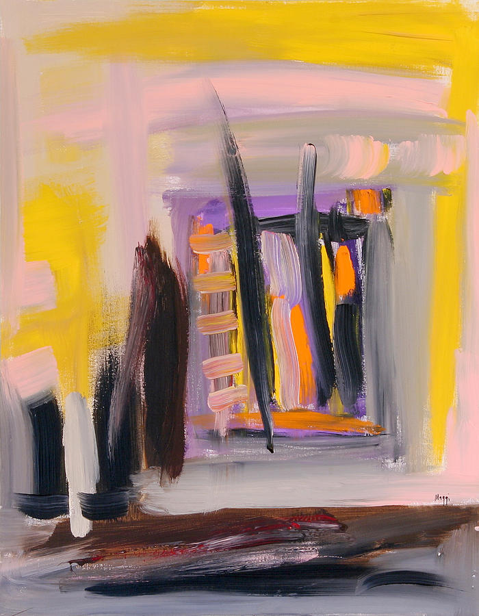 Abstract Painting - Yellow And Black Abstract by Maggis Art