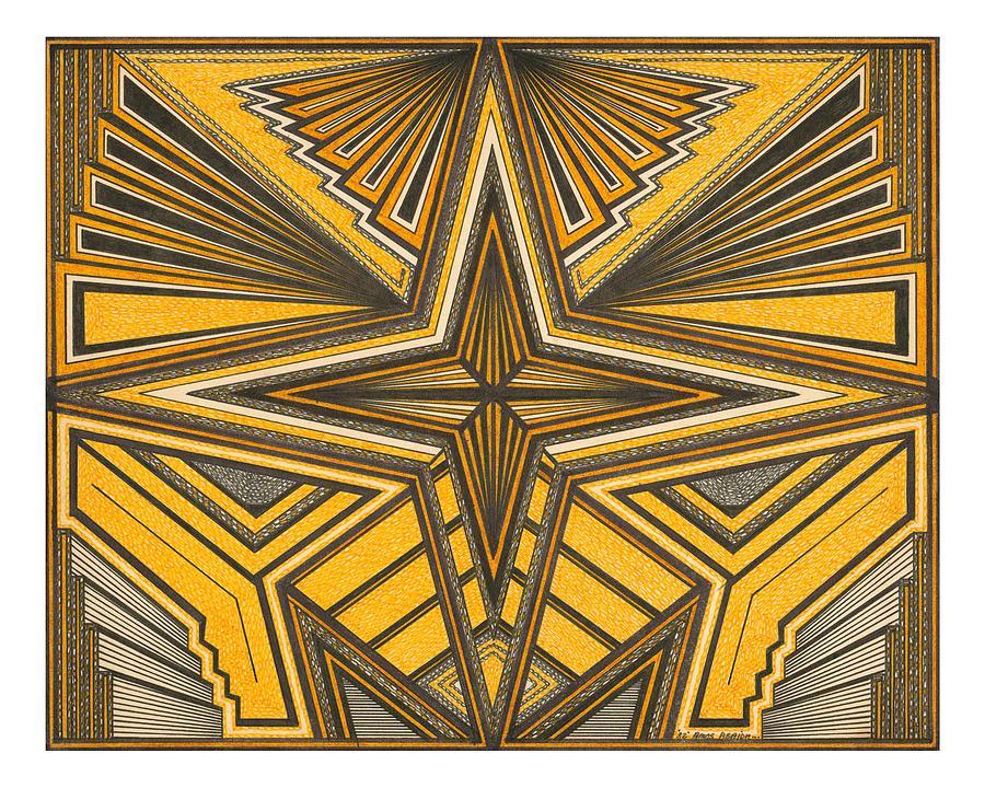 Geometric Design Drawing - Yellow And Black Design by Amos Beaida
