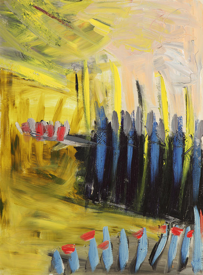 Landscape Painting - Yellow And Blue Abstract by Maggis Art