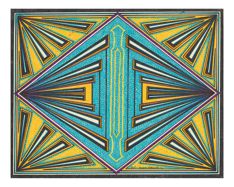 Geometric Design Drawing - Yellow And Blue by Amos Beaida