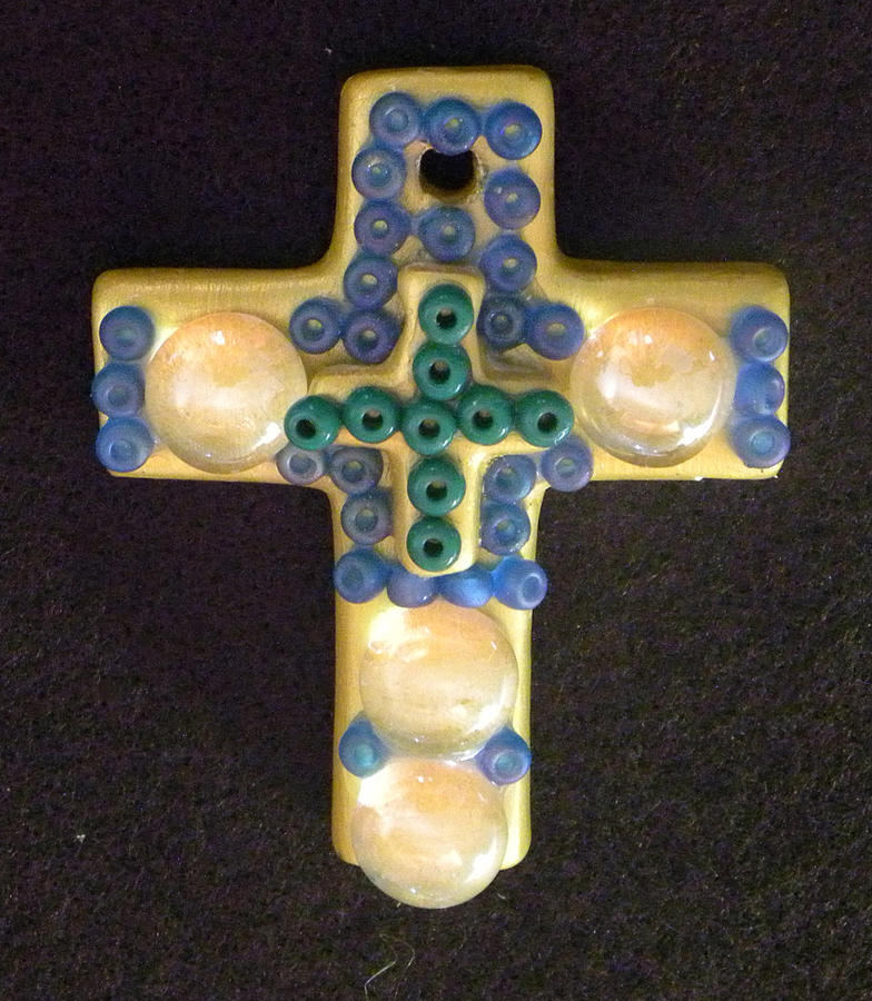 Cross Mixed Media - Yellow And Blue Cross by Arlene Barrios