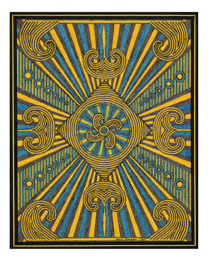 Kaleidoscope Drawing - Yellow And Blue Design by Amos Beaida