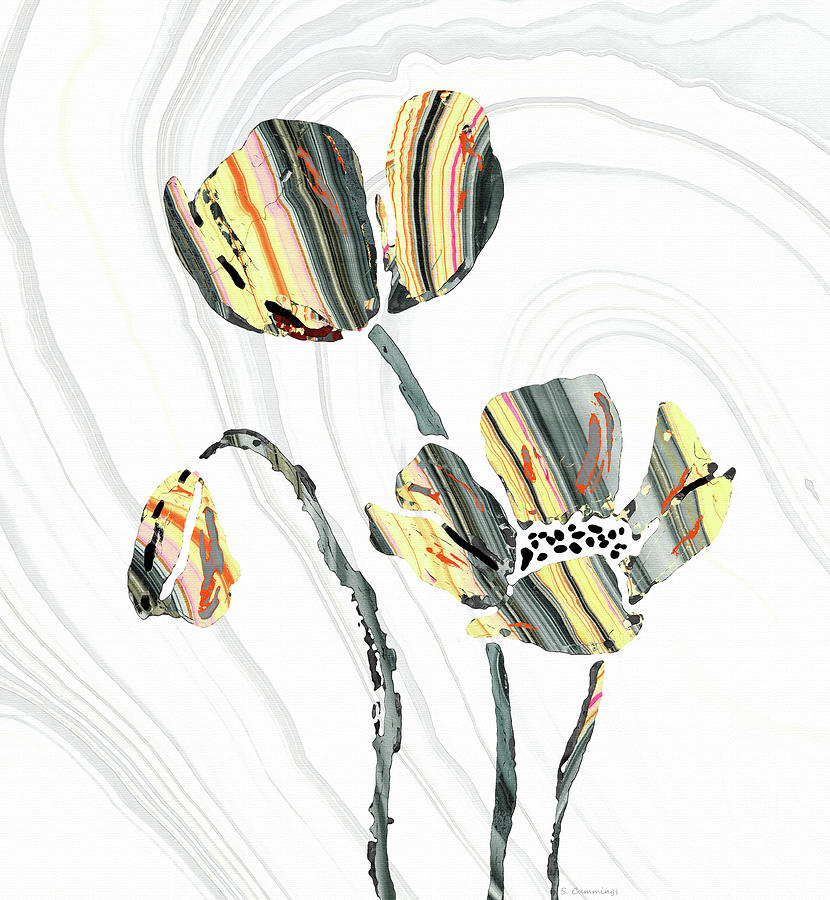 Flowers Painting - Yellow And Gray Flowers - Sharon Cummings by Sharon Cummings