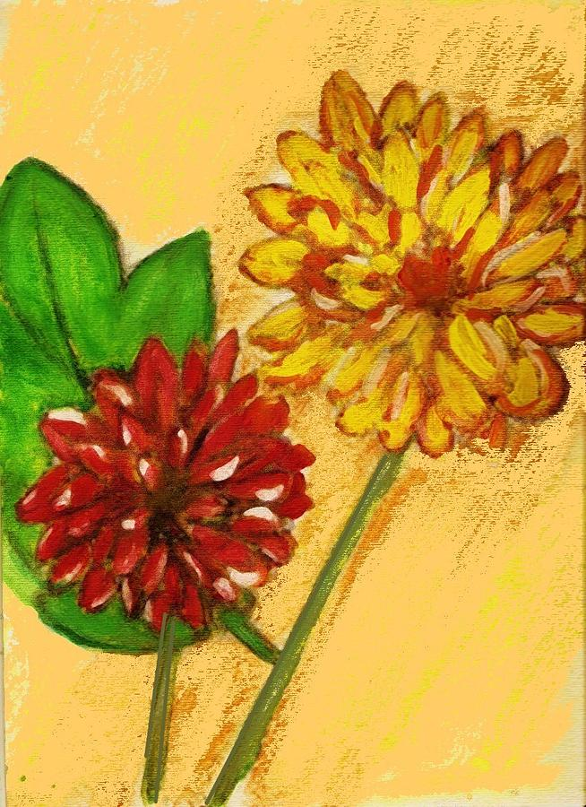 Flowers Painting - Yellow And Red Chrysanthemums by Joseph Ferguson