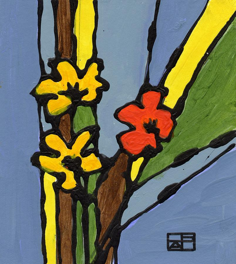 Flowers Painting - Yellow and  Red Flower by Helen Pisarek