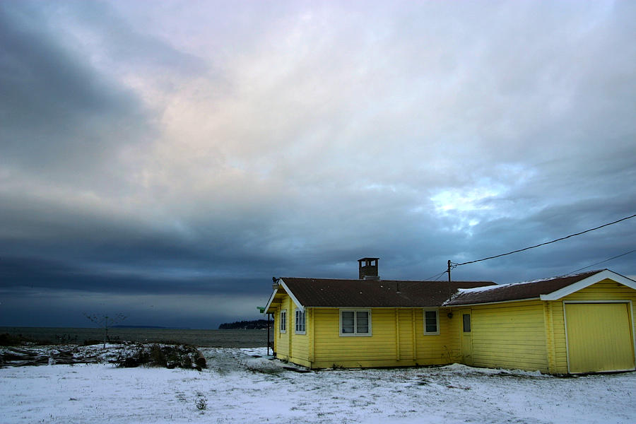 Snow Photograph - Yellow And Snow And Blue by Julius Reque