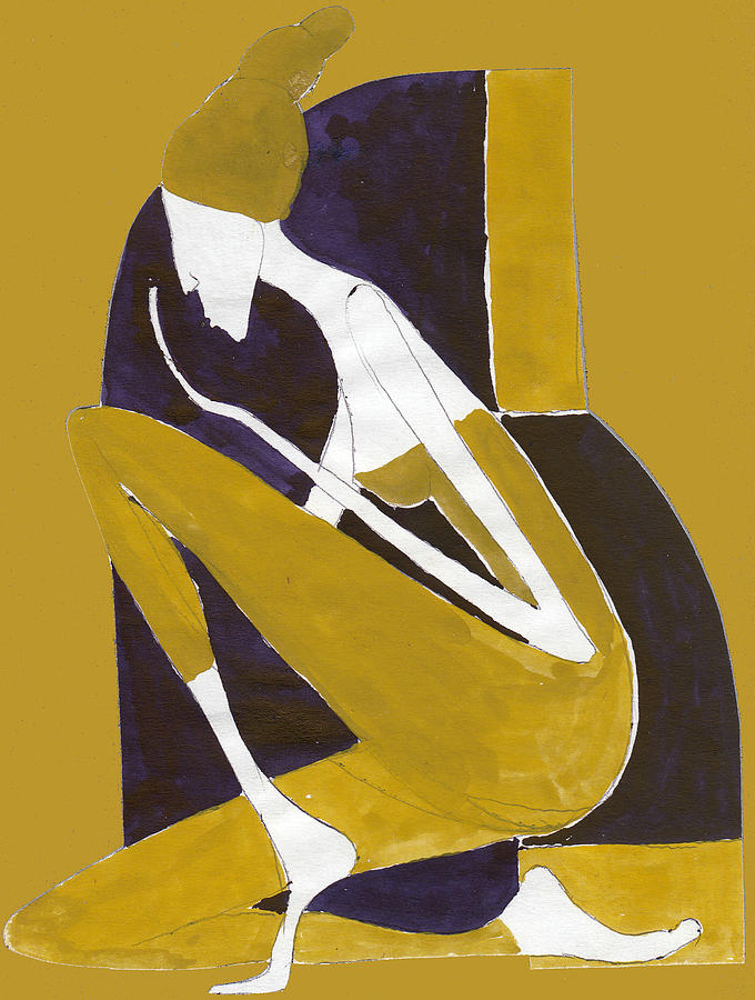 Woman Painting - Yellow And Violet by Maya Manolova