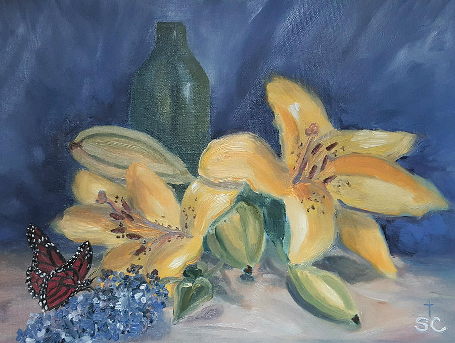 Yellow Aziatic Lily with Monarch by Sharon Casavant