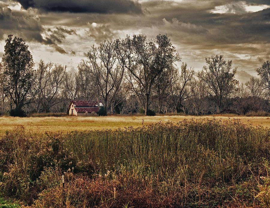 Water Digital Art - Yellow Barn And The Field by Michael Thomas
