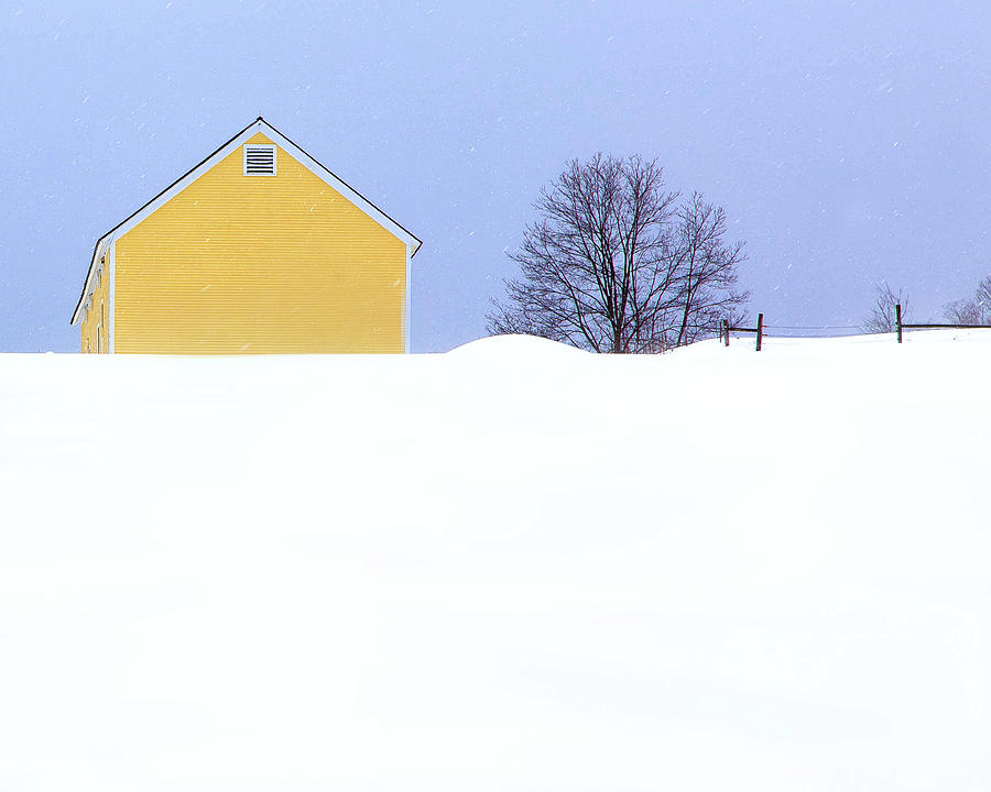 Yellow Barn in Snow by John Vose
