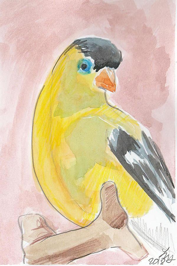 Bird Painting - Yellow Bird 56 by Loretta Nash