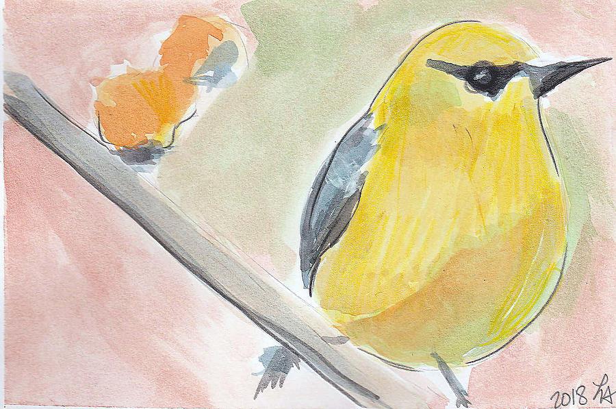 Bird Painting - Yellow Bird by Loretta Nash