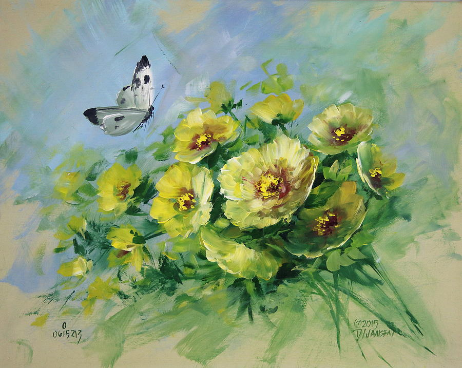 Butterflies Painting - Yellow Blossoms And Butterfly by David Jansen