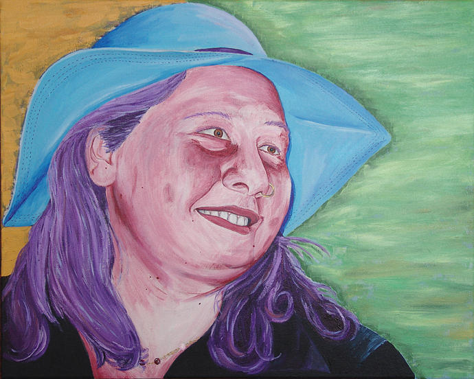 Portrait Painting - Yellow Blue Green Christine by Kevin Callahan