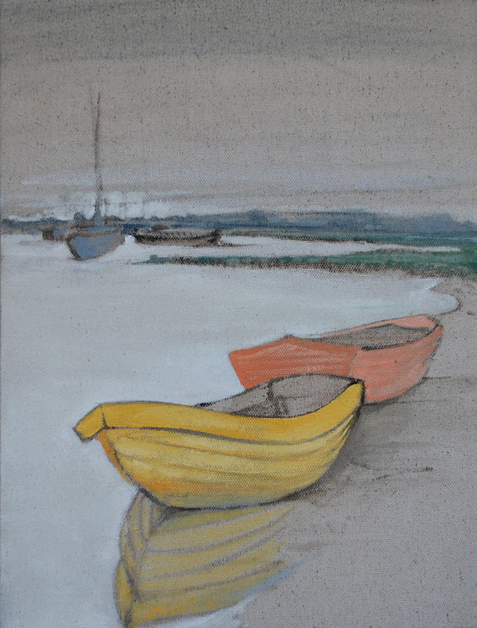 Yellow Boat 2 Painting by Amy Bernays