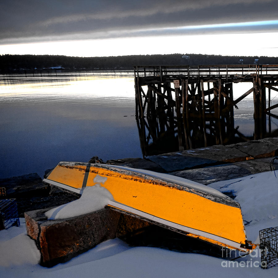 Maine Photograph - Yellow Boat In Winter  by Olivier Le Queinec