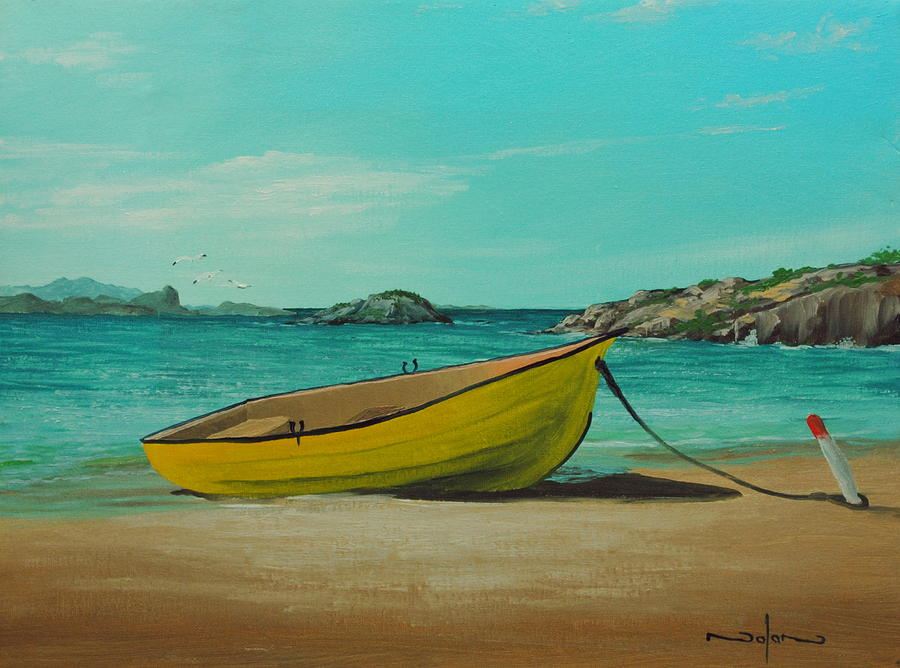 Oil Painting - Yellow Boat by Nolan Clark