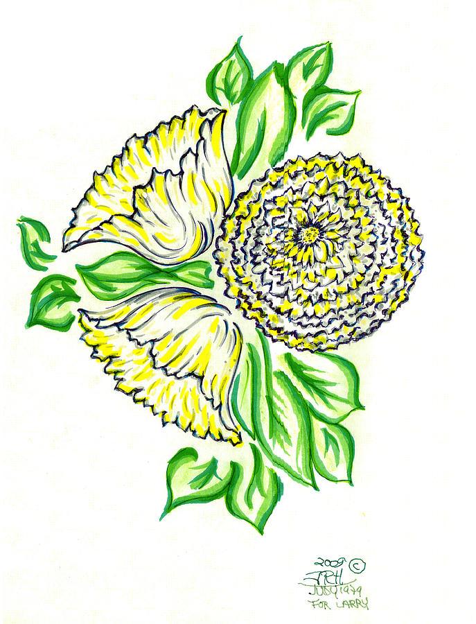 Yellow Bouquet Drawing by Judith Herbert