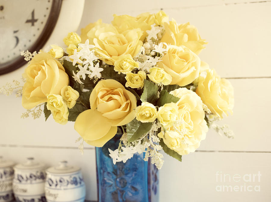 Aqua Photograph - Yellow Bouquet Of Flowers by Juli Scalzi