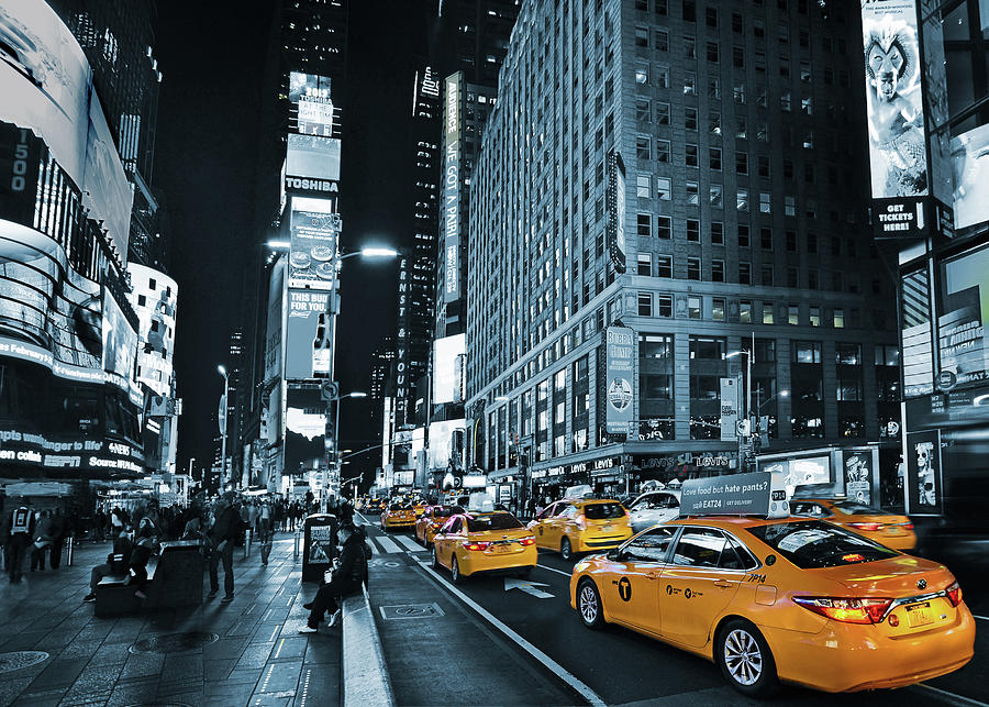 Yellow Broadway at Night - NYC by Carlos Alkmin