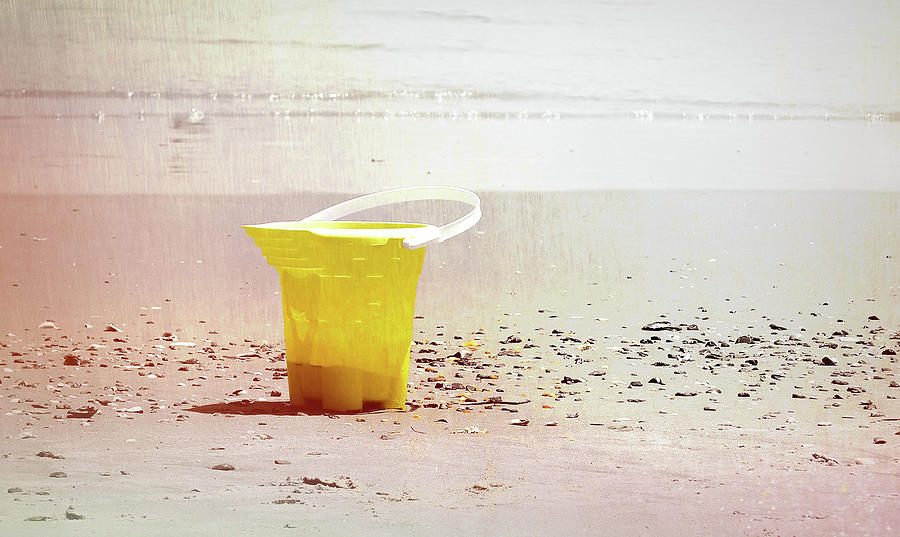 Ocean Photograph - Yellow Bucket by JAMART Photography