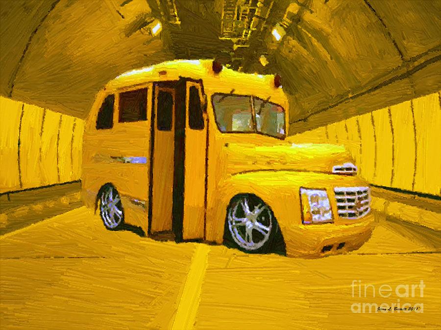 Yellow Mixed Media - Yellow Bus by Jerry L Barrett