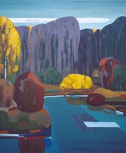 Autumn Landscape Painting - Yellow Bush by Ludmila Kalinina