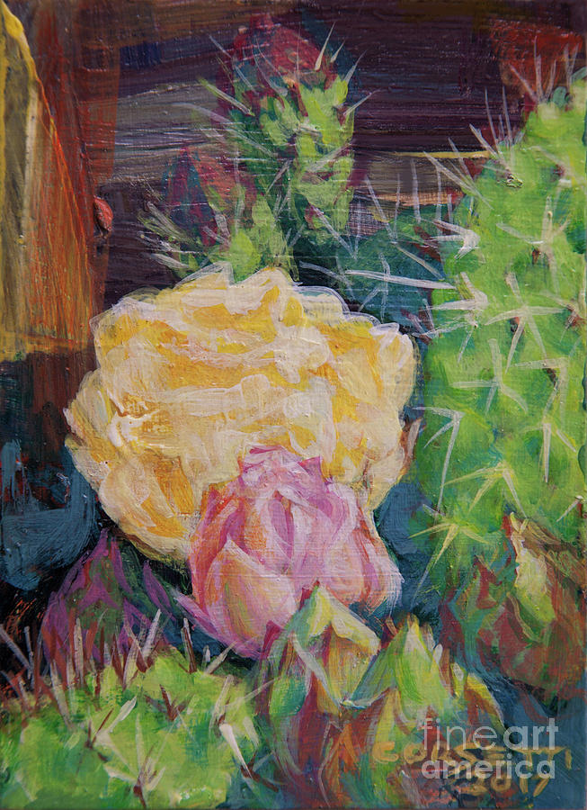 Flower Painting - Yellow Cactus Flower by Rob Corsetti